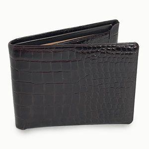 Lord Buxton Wallet Croc Stamp Leather Bifold VTG